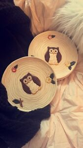 Cute Owl plates and wooden bowls!