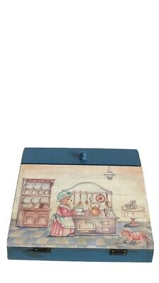 Vintage Handmade & Painted Blue Wooden Children's Writing Slope/Box