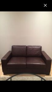 Brown leather couch like new made in canada