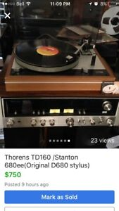 Thorens Td160  (Stanton 680 cart with D680 stylus)$650 firm