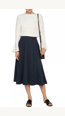 IRIS & INK Flare Skirt Size 8Dark Blu Belt   NEW Made in Italy