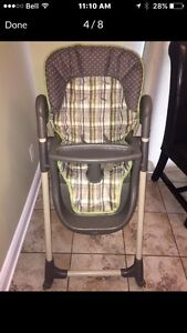 Highchair, car seat with base and matching stroller, swing,