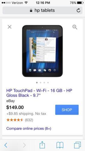 Hewlett Packard Hp Touchpad Tablet