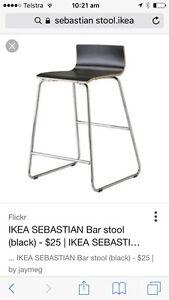 Stools - 4 IKEA black Sebastian stools Balmain Leichhardt Area Preview
