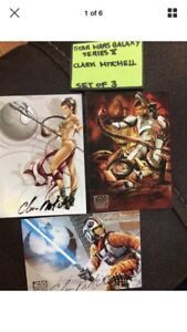 Star Wars Galaxy series V cards signed by Clark Mitchell