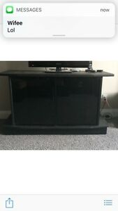 Tv stand with glass doors and shelf