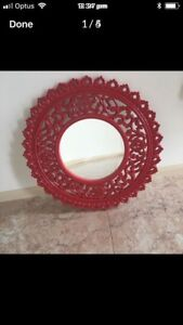 Wooden carved Red Round Decorative Mirrors Calamvale Brisbane South West Preview