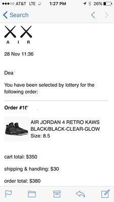 KAWS Air Jordan Retro 4 BLACK size 8.5 930155-001 ORDER Winner 100% Authentic
