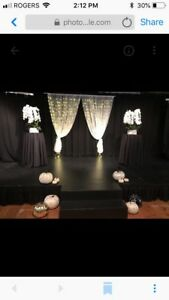 Lighted sheer curtains for special occasions including weddings