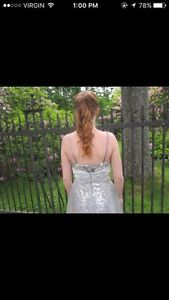 Short, silver prom dress.