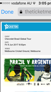Brazill vs Argentina football match ticket Rockdale Rockdale Area Preview