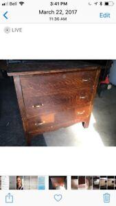 Antique tiger oak dresser