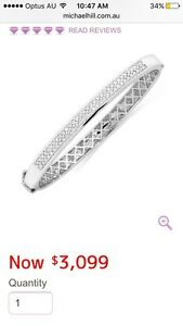 MICHAEL HILL 10K WHITE GOLD 2 ROW DIAMOND BANGLE Mount Hawthorn Vincent Area Preview