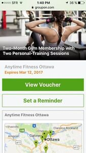 2 months membership Anytime fitness Ottawa many locations