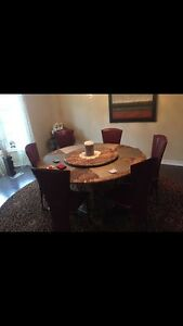 Marble with lazy Susan and 6 chairs