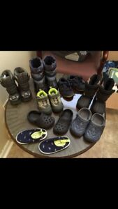 Boys Boots, Sneakers and Crocs. Size 5, mostly 6, 6.5 and 7