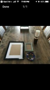 Picture Frames, Candle Holder, and Turtle Pottery