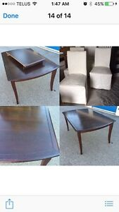 Dark brown dining table with 4 chairs