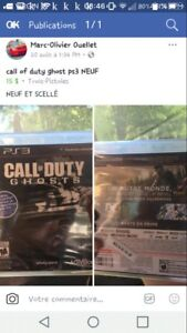NEUF call of duty ghost ps3