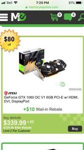 Gtx 1060 6gb Msi video/graphics card
