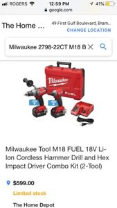 Milwaukee tool M18 FUEL 18V hammer drill and hex