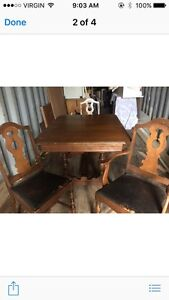 Antique table, chairs,
