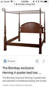Bombay canopy king size bed with frame