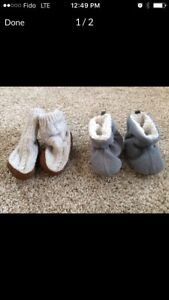 2 pairs of baby booties, 6-18 mos