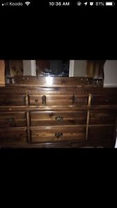 Large pine dresser and mirror