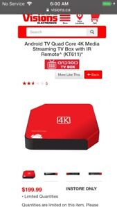 4K Android tv box $120.00