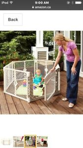 Play yard with two panel extension