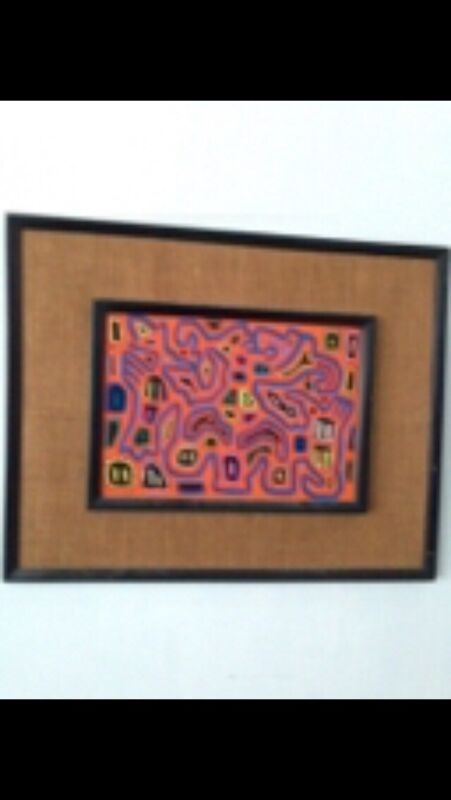"""multicolored textile art framed approximately 28.5"""" x 22.5"""""""