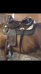 Western pleasure show saddle and headstall for sale
