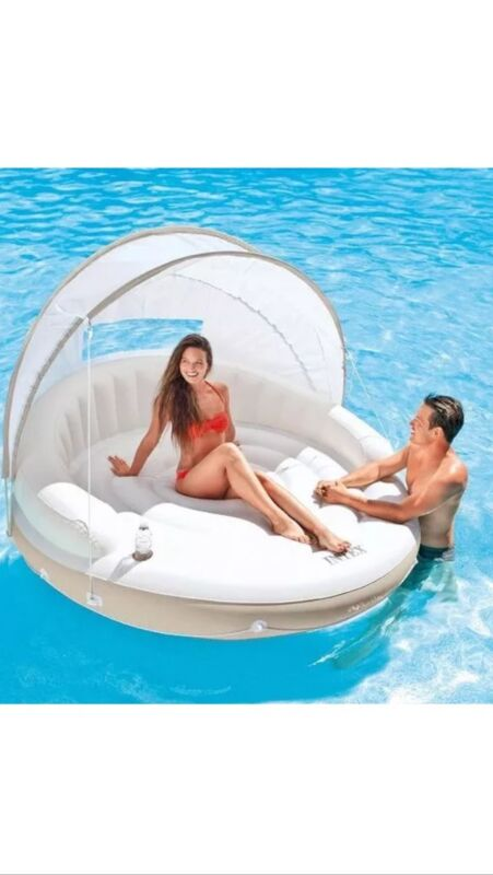 Intex Inflatable Floating Canopy Island Water Raft Lounge Sunshade Pool/Lake New
