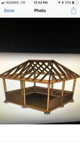 WANTED ROOF RAFTERS BUILT FOR 10x15 GAZEBO  300$