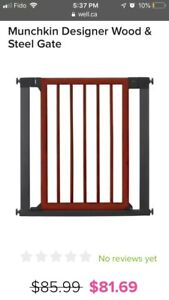 $85.99 Munchkin Designer Wood and Steel Baby Gate! Moving Sale!