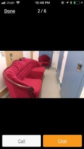 Beautiful 2 piece Red Velvet Couch and matching Chair
