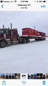 2005 kenworth and 1999 Gerry's 40 ton tri low flip roll