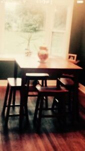 Bar style table and stools