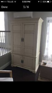 Large Antique White Armoire Entertainment Hutch or Wardrobe