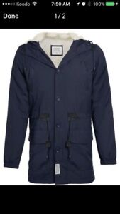 D-Struct Fleece Lined Navy Parka (brand new with tags)