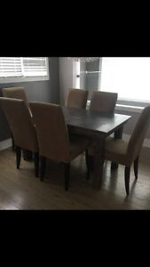 Farm style table with 6 chairs