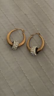 9ct yellow gold hoops with crystal balls Lakelands Mandurah Area Preview