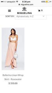 2d345513e24 Miguelina ballerina linen wrap skirt -white