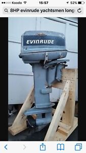 8HP Evinrude outboard long shaft motor