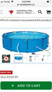 Pool above ground , ladder and upgraded pump