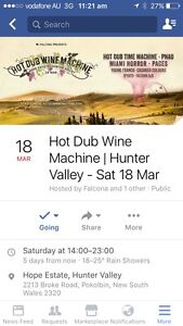1x Hot Dub Wine Machine (Hunter Valley) ticket for sale Dee Why Manly Area Preview