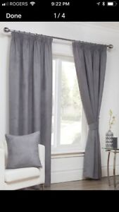 Beautiful 9 ft curtains - charcoal grey and sheer white