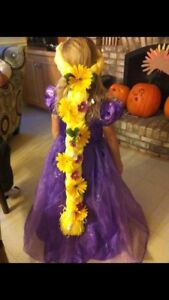 Repunzel costume with hair piece size 7-8