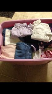 Large bin of baby girl clothes